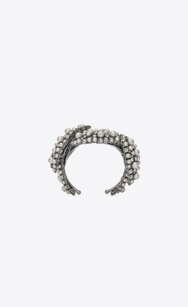 SAINT LAURENT Bracelets Woman SMOKING PERLE leaf-design cuff bracelet in silver-toned brass b_V4