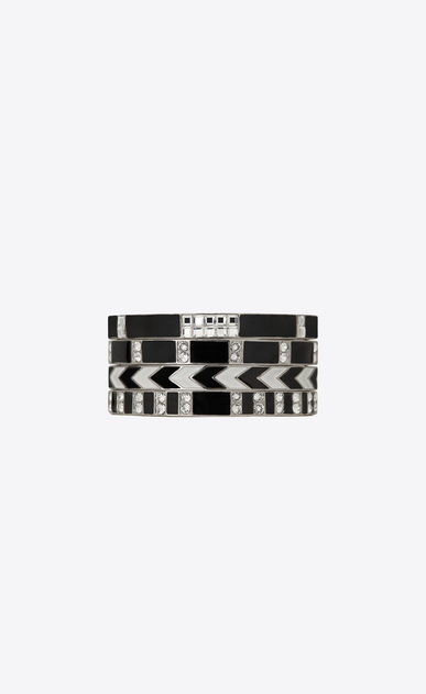 Set of four SMOKING grommet bracelets in silver-toned brass, black enamel and white crystals