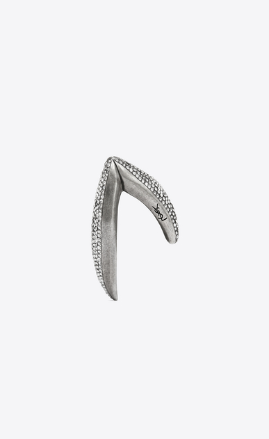 SAINT LAURENT Bracelets Woman SMOKING V bracelet in silver-toned tin and white crystals b_V4