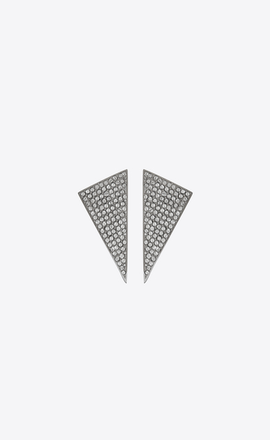SAINT LAURENT Earrings Woman SMOKING faceted earrings in black resin and white crystals b_V4