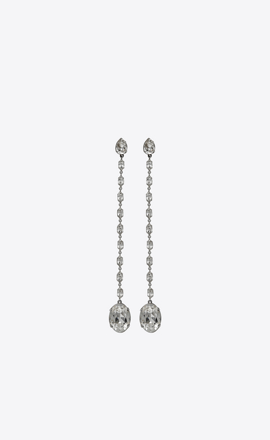SAINT LAURENT Earrings Woman SMOKING chain earrings in silver-toned brass and white crystals a_V4