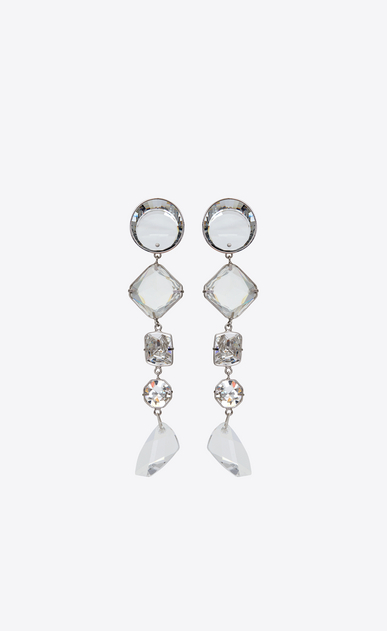 SAINT LAURENT Earrings Woman smoking long chain earrings in silver-toned brass and white crystals a_V4