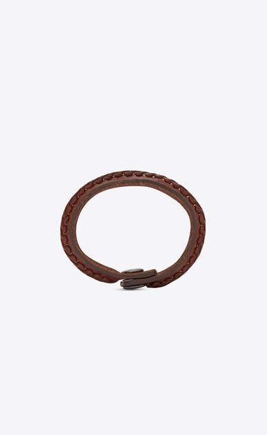 SAINT LAURENT Bracelets Woman Plaited MARRAKECH bracelet in brown leather b_V4