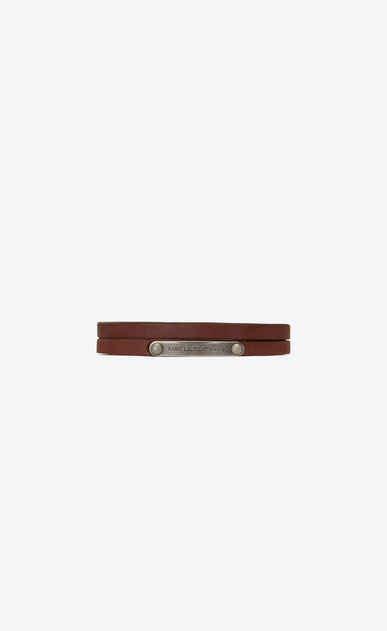 SAINT LAURENT Bracelets Woman Narrow multi-wrap ID bracelet in brown leather and metal a_V4