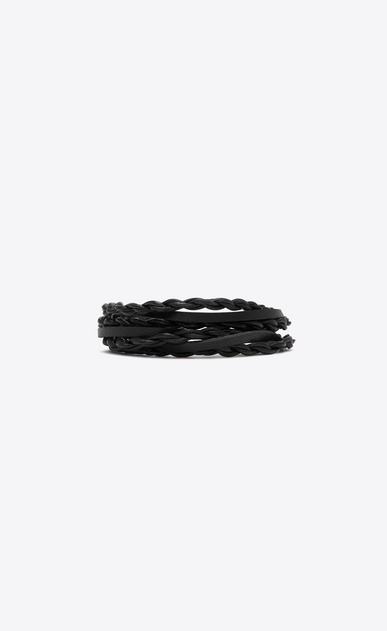 SAINT LAURENT Bracelets Woman Multi-wrap TRIBAL bracelet in black leather a_V4