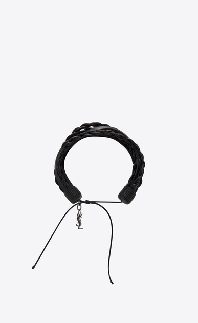 SAINT LAURENT Bracelets Woman Multi-wrap TRIBAL bracelet in black leather b_V4