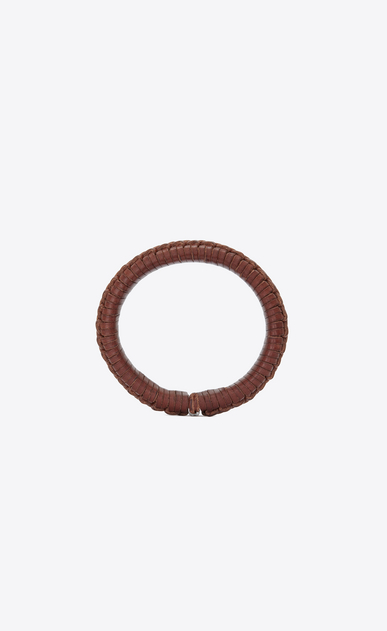 SAINT LAURENT Bracelets Woman Plaited MARRAKECH bracelet in brown plaited leather b_V4