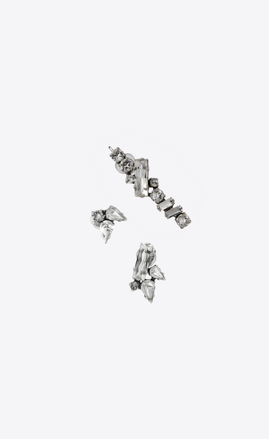 SAINT LAURENT Earrings Woman Set of three SMOKING ear jewels in silver-toned brass and white crystals a_V4
