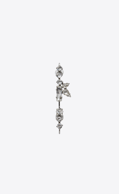 SAINT LAURENT Earrings Woman SMOKING long earrings in silver-toned brass and white crystals a_V4