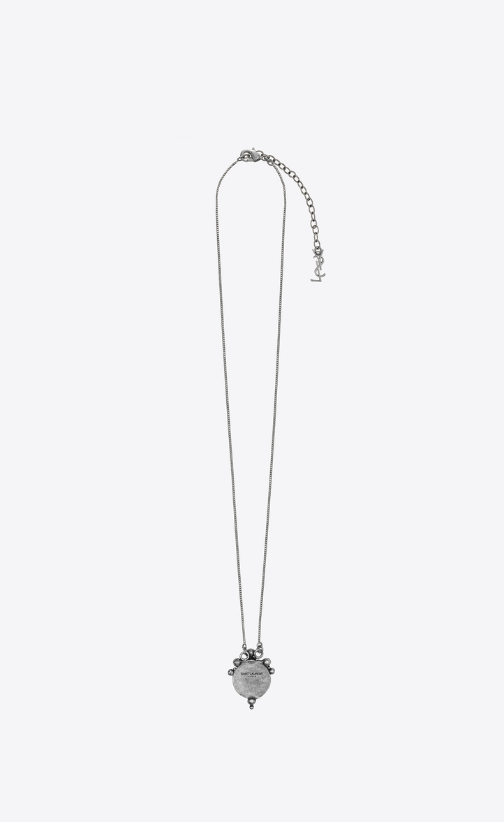 63925d157ad SAINT LAURENT MARRAKECH PERLE PENDANT ON CHAIN IN SILVER-TONED TIN ...