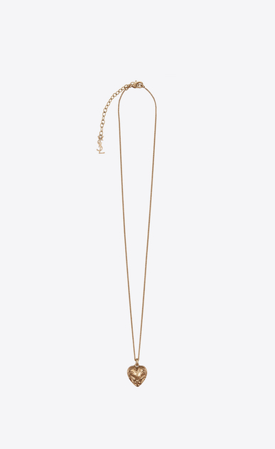 SAINT LAURENT Short Necklaces Woman CHARMS heart necklace in gold-toned brass a_V4