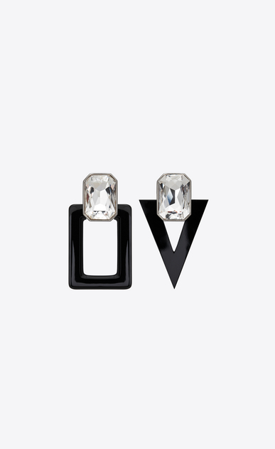SAINT LAURENT Earrings Woman smoking unmatched earrings in black resin and white crystals a_V4