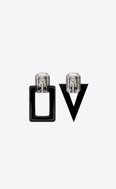 SAINT LAURENT Earrings Woman smoking unmatched earrings in black resin and white crystals b_V4