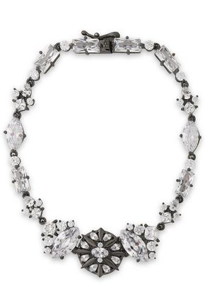 NOIR JEWELRY Gunmetal-tone crystal necklace