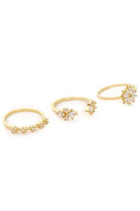 NOIR JEWELRY Set of three gold-tone crystal rings