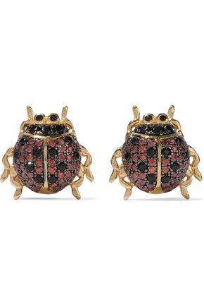 NOIR JEWELRY Ladybug gold-tone crystal earrings