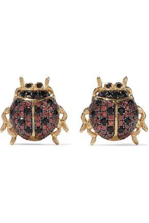 NOIR JEWELRY Ladybug gold-tone crystal earrings