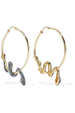 NOIR JEWELRY Serpent gold-tone crystal earrings