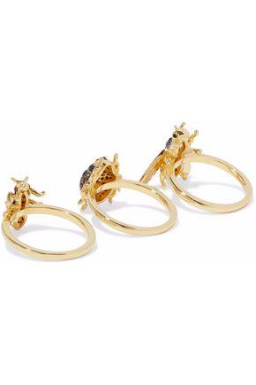 Noir Jewelry Noir Jewelry Woman Gold-tone Crystal 3 Ring Set Gold Size 7 dpsj39SCXQ