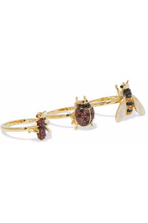 NOIR JEWELRY Set of three gold-tone, enamel and crystal rings