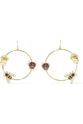 NOIR JEWELRY Assorted Bug gold-tone, crystal and enamel earrings