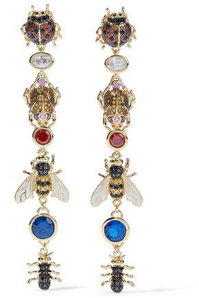 NOIR JEWELRY Gold-tone, crystal and enamel earrings