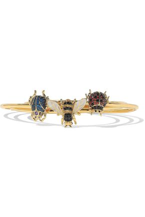 NOIR JEWELRY Set of three gold-tone, enamel and crystal bracelets
