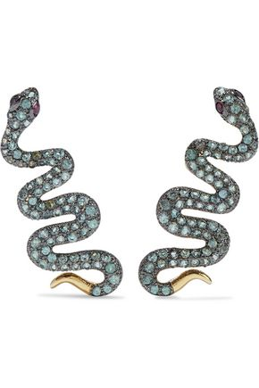 NOIR JEWELRY Serpent Creeper gold-tone crystal earrings