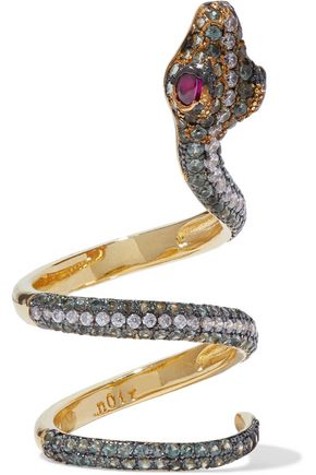 NOIR JEWELRY Serpent Coil gold-tone crystal ring