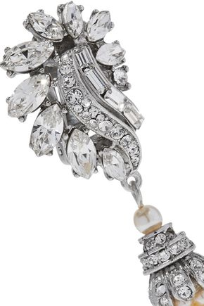 BEN-AMUN Silver-tone, faux pearl and crystal clip earrings