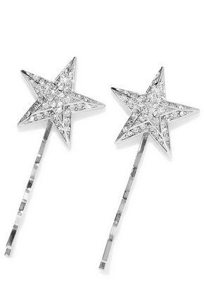 BEN-AMUN Set of two silver-tone crystal hair pins