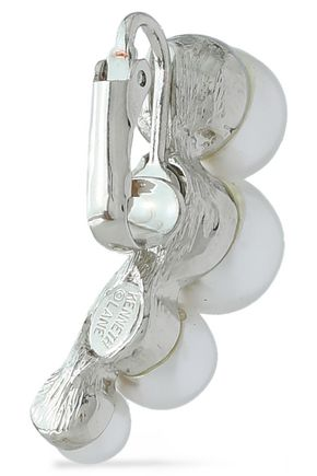 KENNETH JAY LANE Silver-tone faux pearl earrings