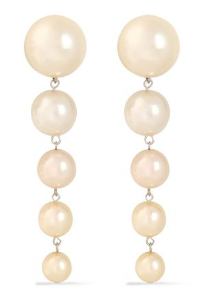 BEN-AMUN Silver-tone faux-pearl clip earrings