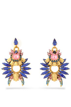 ELIZABETH COLE Gold-tone, crystal and stone earrings