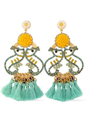 ELIZABETH COLE Tasseled gold-tone, crystal and stone earrrings