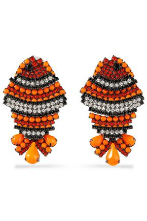 ELIZABETH COLE Bead, crystal and silver-tone earrings
