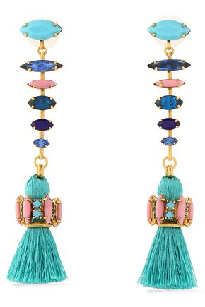 ELIZABETH COLE Tasseled gold-tone, crystal and stone earrings