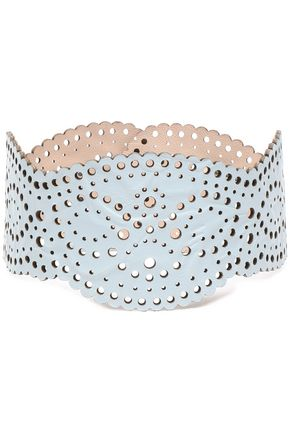 ZIMMERMANN Embossed laser-cut leather collar