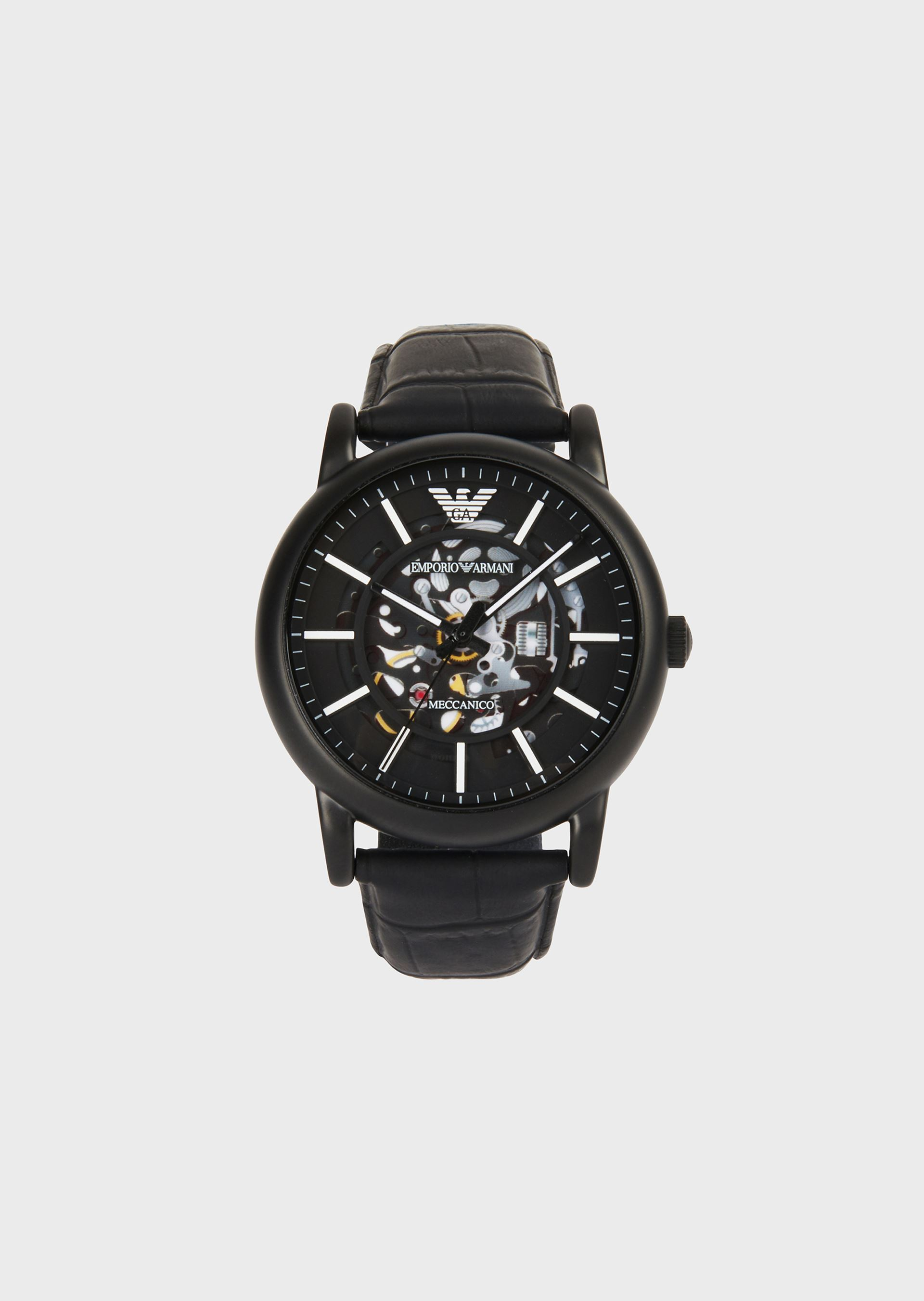 EMPORIO ARMANI Men's watch with visible gears and leather strap