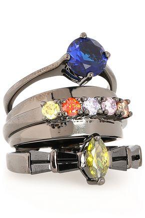 IOSSELLIANI Gunmetal-tone stone ring