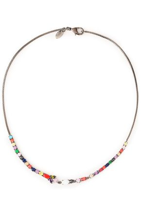 IOSSELLIANI Gunmetal-tone, crystal and stone necklace