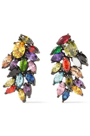 IOSSELLIANI Gunmetal-tone crystal earrings
