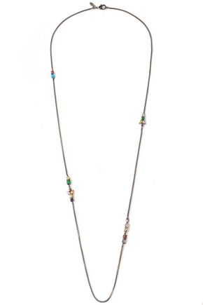 IOSSELLIANI Gunmetal-tone crystal necklace