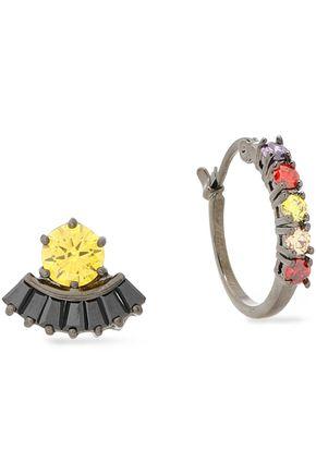 IOSSELLIANI Gunmetal-tone crystal earrings