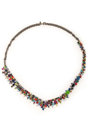 IOSSELLIANI Gunmetal-tone, crystal and stone necklace