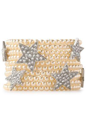 BEN-AMUN Silver-tone, faux-pearl and crystal bracelet
