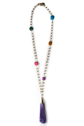 ROSANTICA Gold-tone stone tasseled necklace