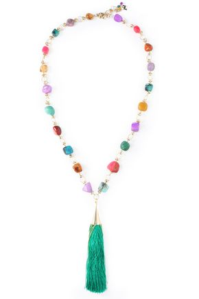 ROSANTICA Gold-tone stone tasseled necklace