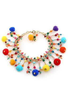 ROSANTICA Gold-tone, bead and pompom bracelet