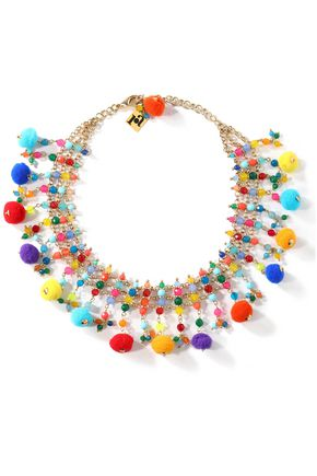 ROSANTICA Gold-tone, pompom and bead necklace